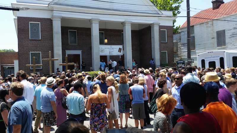 Crowds gather at the memorial service for the Charleston Shooting victims.
