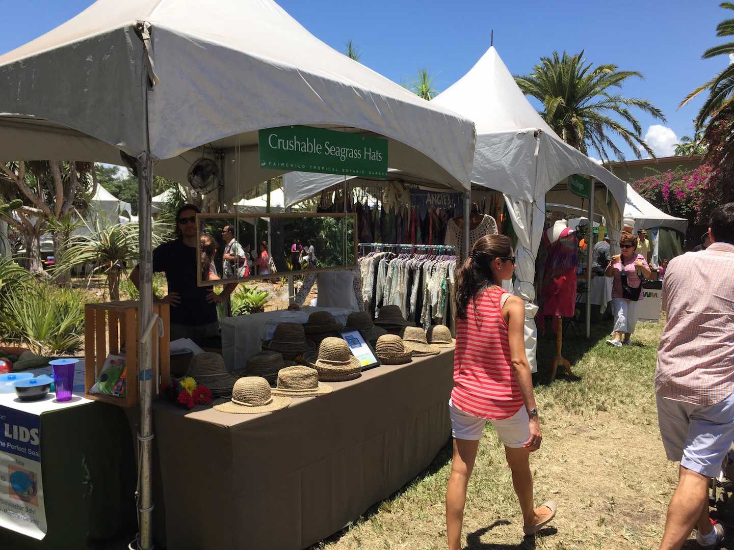 One of the non-mango vendors sold crushable seagrass hats to keep visitors cool.