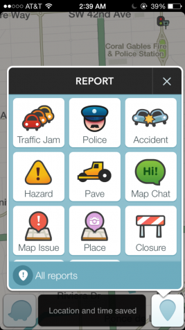 Was allows the user to report any road hazards or anything that may disrupt the flow of traffic.