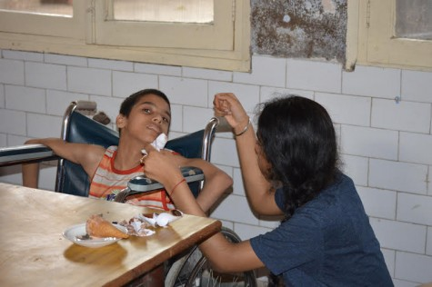 Moihdeen where she volunteered last year. Last year she was able to volunteer in the Saket Hospital and Bal Sadhan.