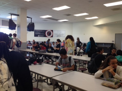 This cafeteria offers a decent amount of seating, but it can fill up fast!