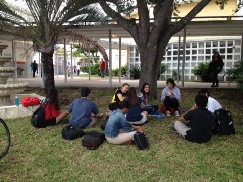 Students gather in the shade in front of the auditorium.