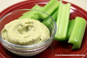 Celery with hummus is delicious and hummus is a great alternative to the school-banned peanut butter.