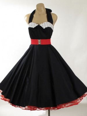 A typical dress worn to sock hops in the 50's.