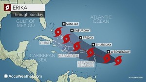 Expected course of Hurricane Erika before it weakened and dissipated.
