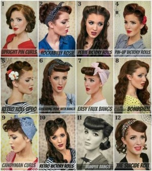Above are some examples of 50s hair styles.