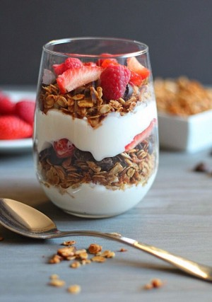 A yogurt and granola parfait is a great source of protein and calcium.