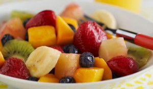 Fruit salad is a sweet and vitamin filled breakfast.