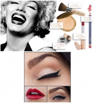 Do it like Marilyn Manroe with red lipstick and black eyeliner.