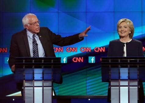 Hilary Clinton (right), Bernie Sanders (left)
