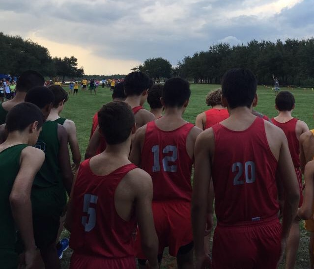 Some of the boys' cross country team members getting ready to run