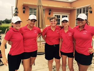 The girls' golf team poses after a great round.