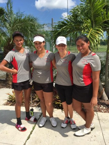 The girl's golf team after taking a swing at GMAC's.
