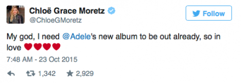 Actress Chloë Grace Moritz taking to twitter her love for Adele's comeback
