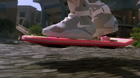 Shot of Marty's shoes while riding the hoverboard.