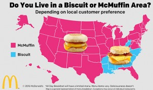 Above shows which areas have biscuit or McMuffin on their all day breakfast menu.