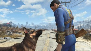 The Sole Survivor and his dog companion, Dogmeat.