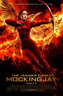 The movie poster shows Katniss Everdeen, the mockingay, doing what she does best.
