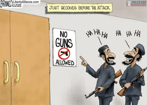 This comic displays how people are more likely to attack gun free zones.