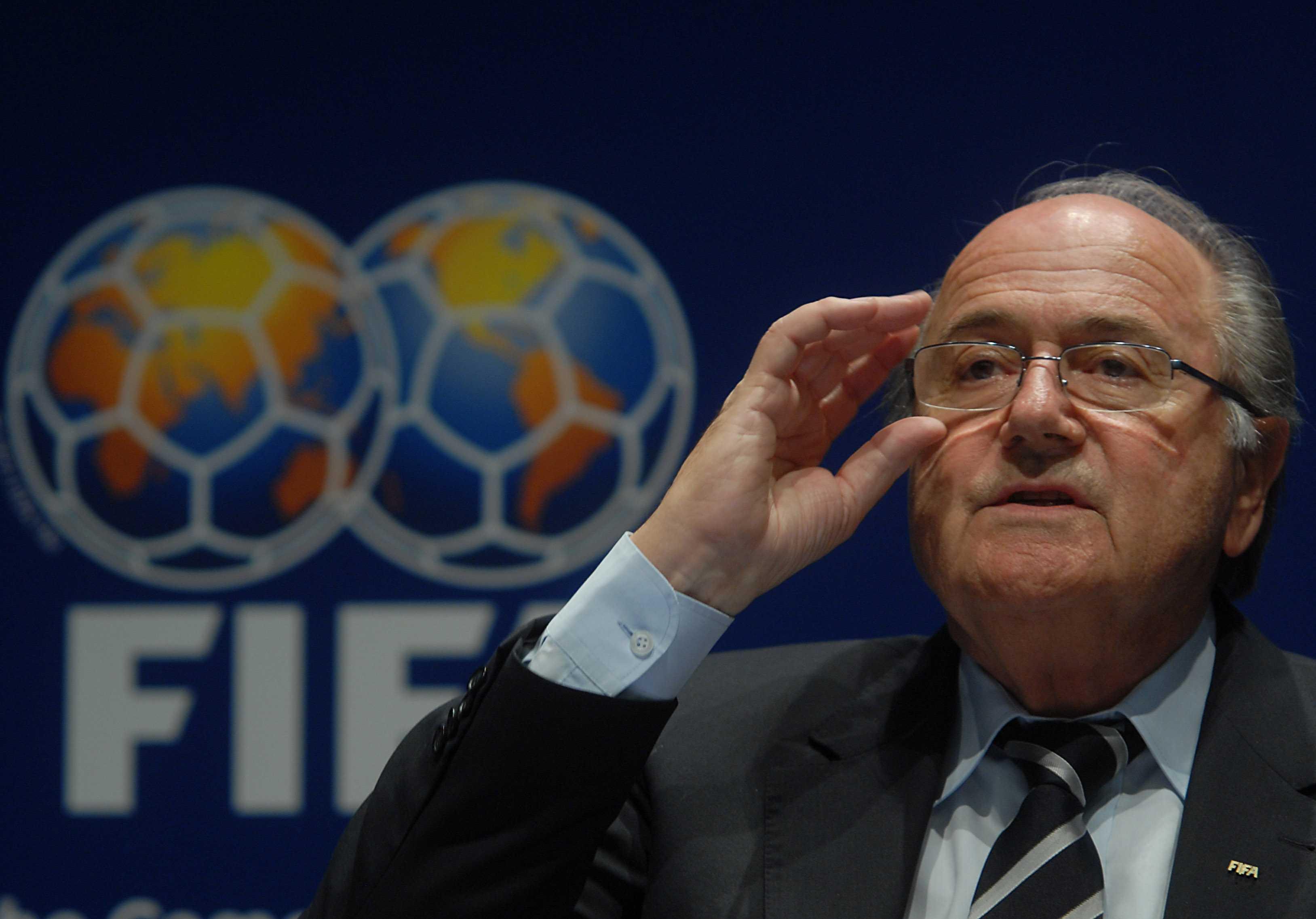 Mr. Blatter adresses the media.