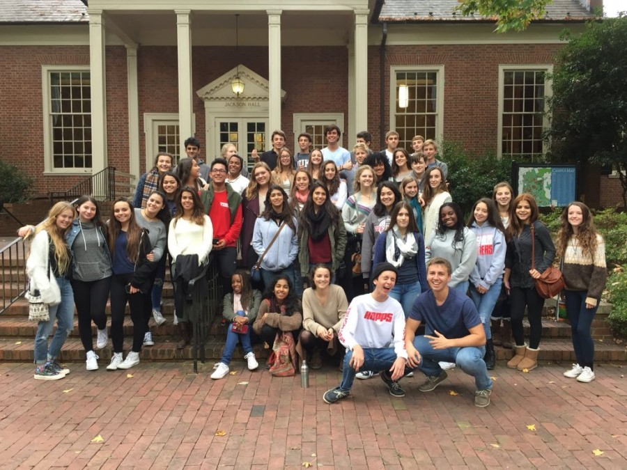 The 2015 Out-Of-State College Tour group posing in front of UNC Chapel Hill.
