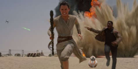 One scene from Star Wars: The Force Awakens. Most parts of it are real, inducing the explosion, except the Tie Fighter, BB-8, is a puppet.
