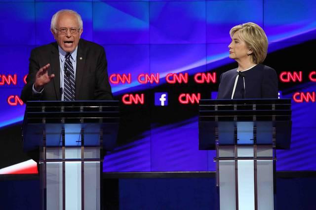 Confrontaciones+entre+Hillary+y+Sanders.