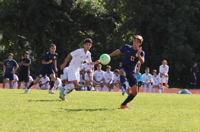 The Cavalier Varsity soccer team in action.