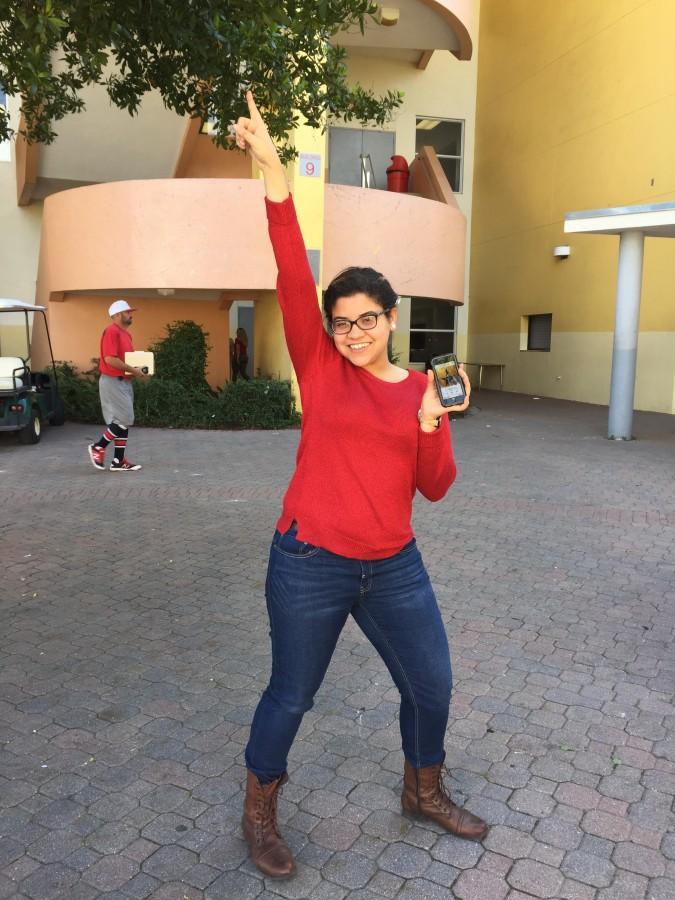Senior, Lady Del Castillo strikes the signature Hamilton pose.