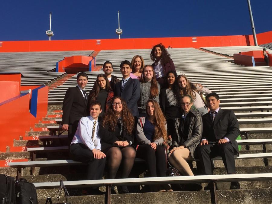 Cavaliers pose for a picture at the famous University of Florida Stadium.