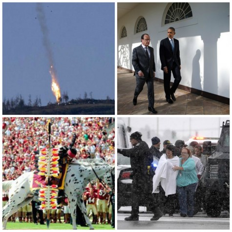 Turkey shoots down plane, François Hollande and Obama meet, FSU controversy, Colorado shooting and more this recap.