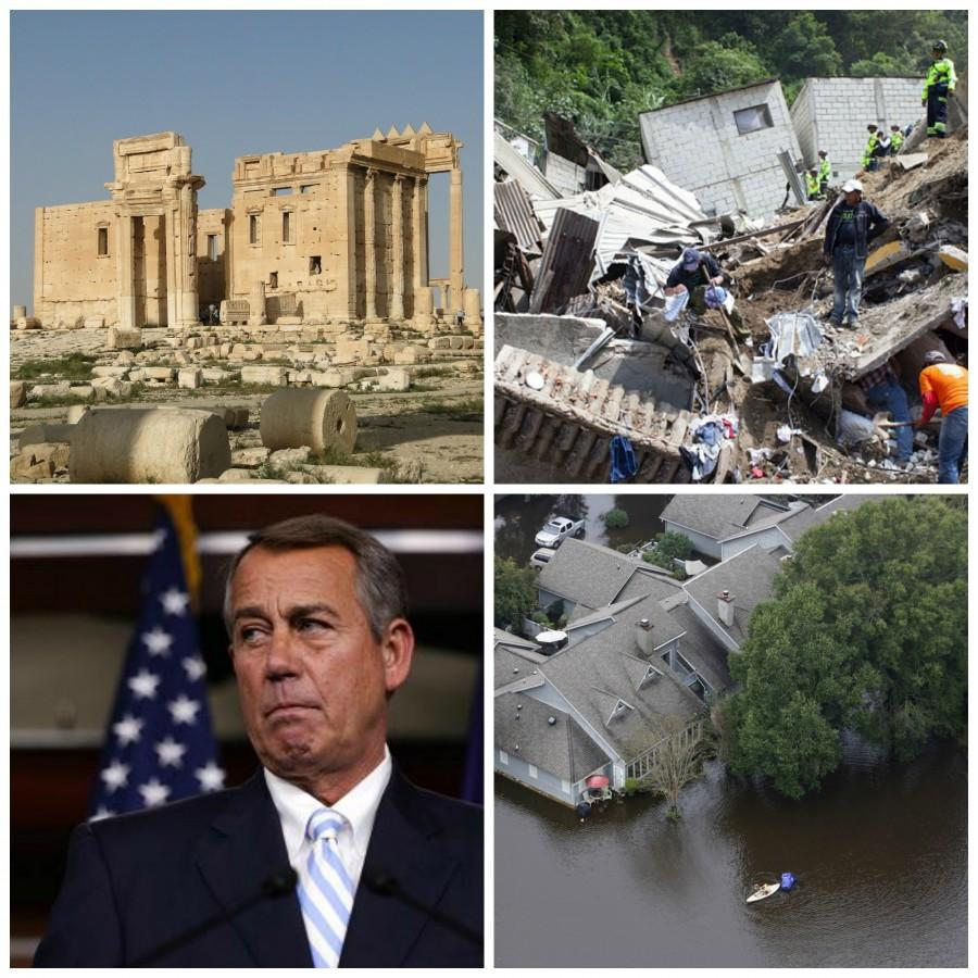 In news this week, ISIS destroys an ancient site, death tolls rise in Guatemala after mudslide, Boehner sets House vote, and deaths from floods in South Carolina rise.