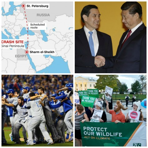 This week news stories include a Russian plane crash over Egypt, China and Taiwan leaders meeting for the first time in decades, Royals winning the World Series and Obama rejecting the Keystone XL Pipeline.