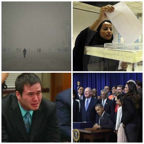 Smog in Beijing, historic elections in Saudi Arabia, Holtzclaw convicted and Obama signs education bill this week.