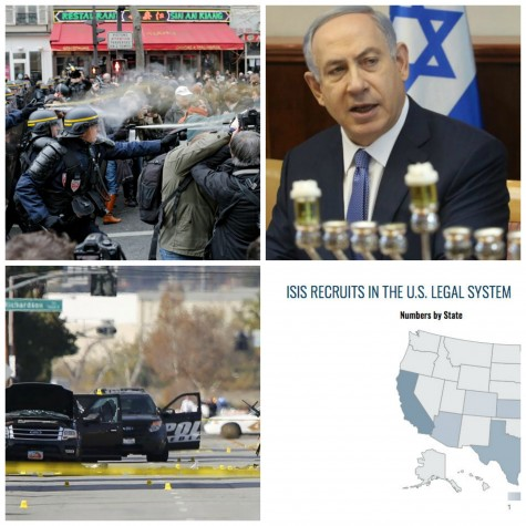 This week: protests at Paris Climate Conference, Netanyahu responds to Kerry, shooting in San Bernardino and increasing numbers of ISIS supporters in the US.