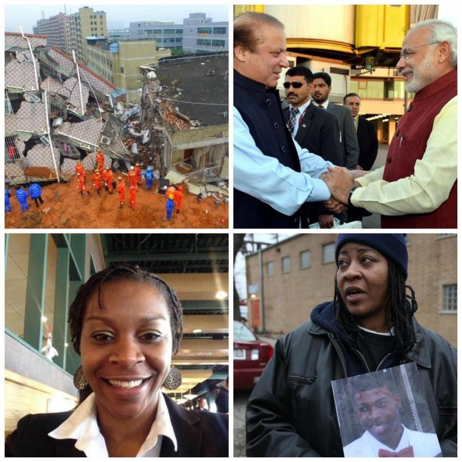 This week's news includes a landslide in China, Modi visiting Pakistan, a lack of indictment in the Sandra Bland case and another fatal shooting in Chicago.