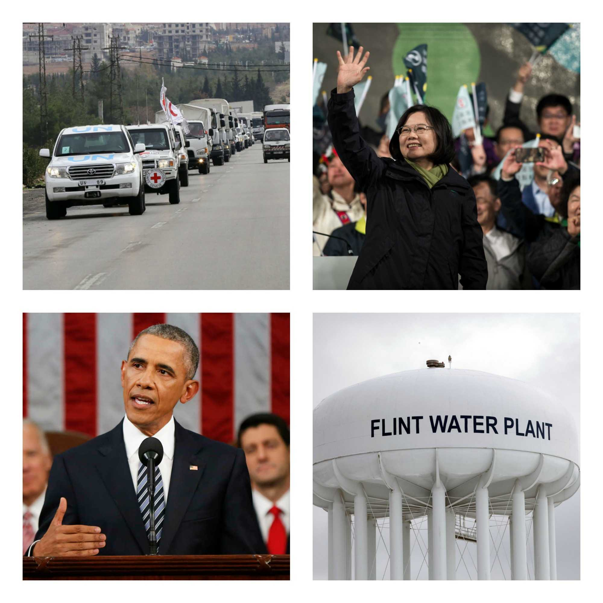 UN convoy reaches Madaya, Taiwan elects first female president, Obama's final State of the Union address and Flint's water crisis in this week's recap.