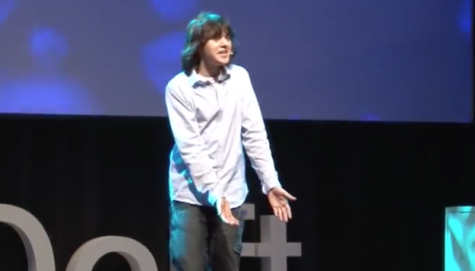 B Slat presenting his TEDx Talk in 2012.