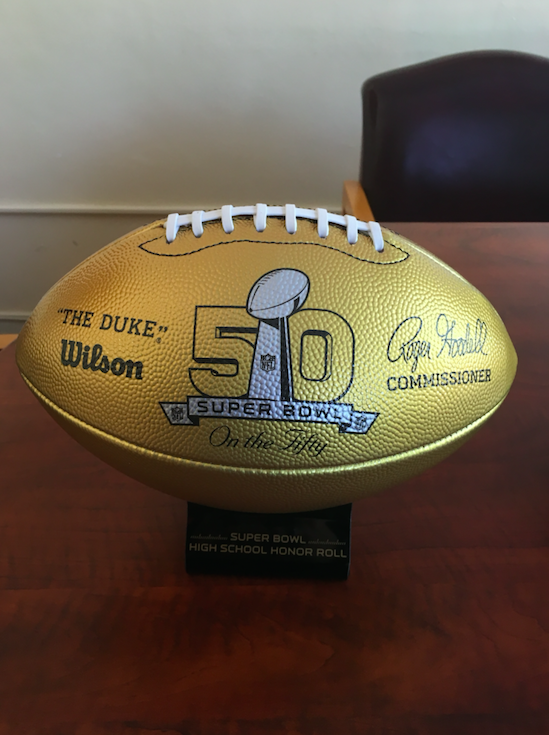 Gold Football dedicated to Gary Dunn '70