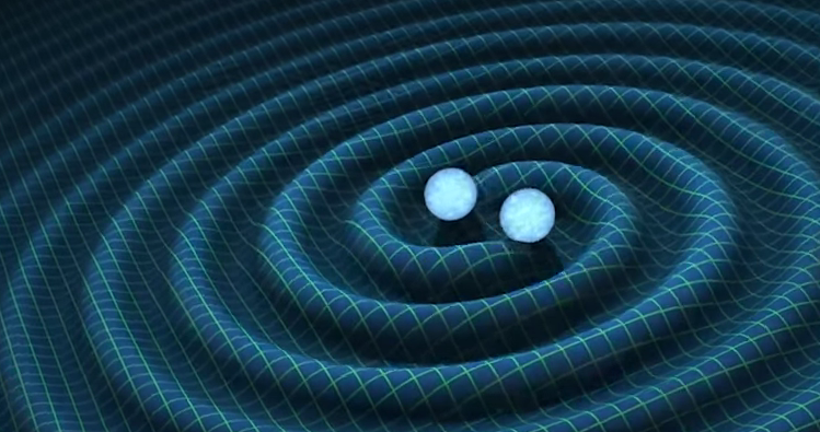 This picture shows the gravitational waves created by two black holes, that is what the scientists heard