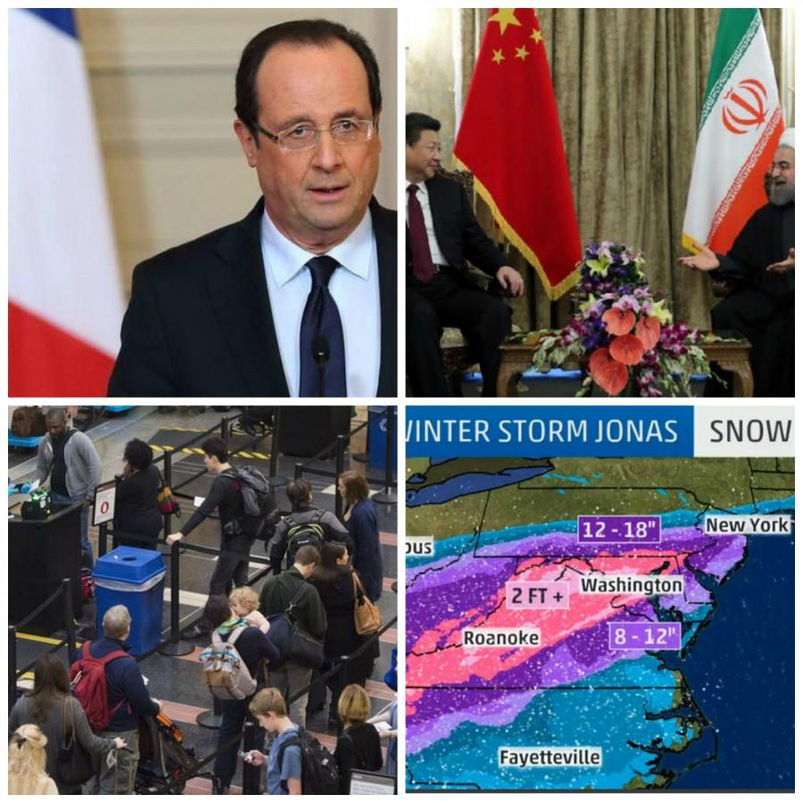 This week: France's economic crisis, Chinese and Iranian leaders meet, record number of guns detected by TSA and the impact of Winter Storm Jonas.
