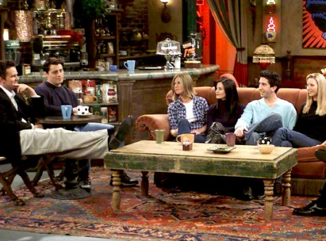 The 6 friends enjoy some coffee at Central Perk.