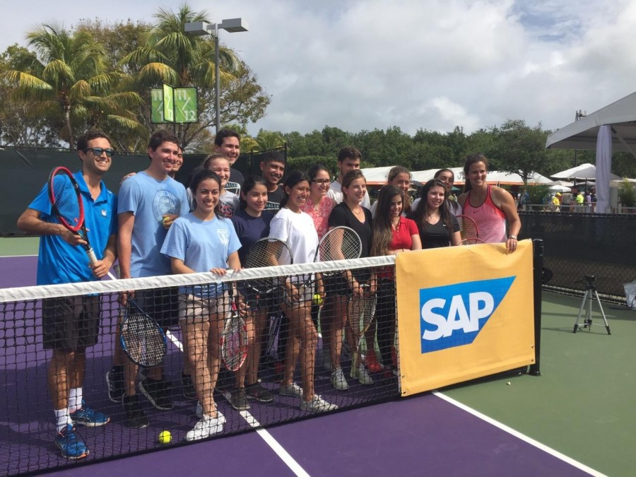 Students learn more about the game of tennis with tennis legend Mary Joe Fernandez.