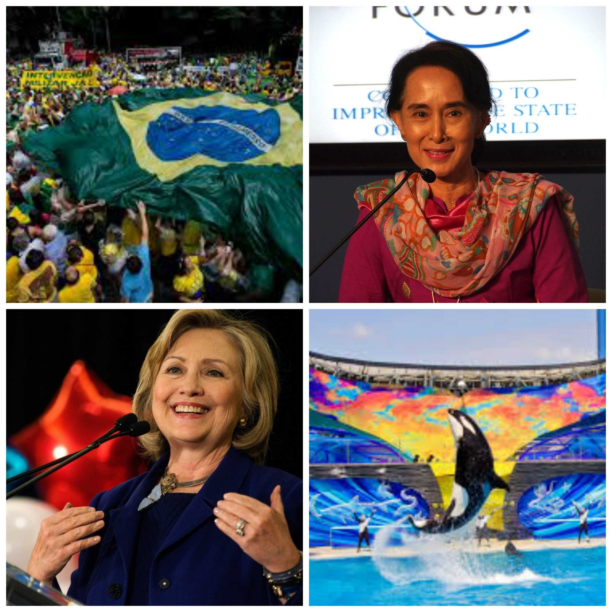 In news this week: protests in Brazil, civilian rule reaffirmed in Myanmar, Clinton sweeps Tuesday's primaries and Sea World announces new orca policy.
