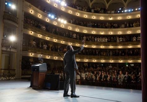 President Obama delivers his speech to the citizens of Cuba at the Grand Theatre in Havana, Cuba.