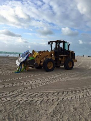 Cleaning crews are needed on Miami Beach to pick up the trash left behind by thousands of Floatopians.