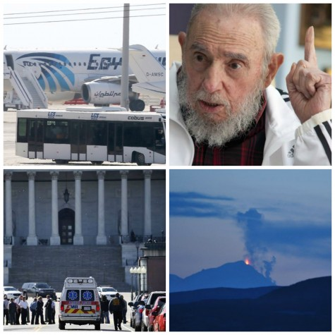 EgyptAir hijack, Fidel Castro blasts Obama, shooting at Capitol visitor center and Pavlof erupts in news this week.