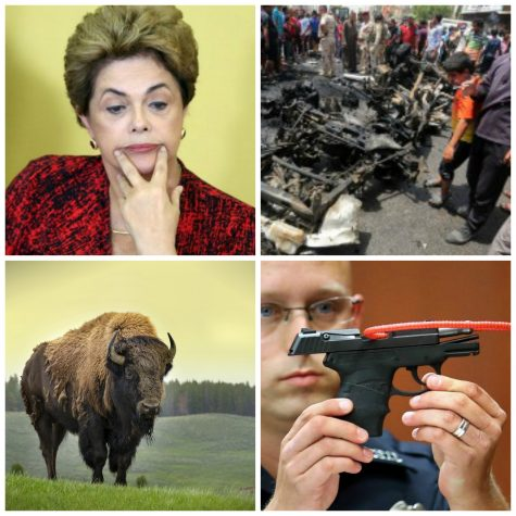 In news this week: Rousseff impeachment process picks back up, ISIS claims string of attacks across Iraq, the bison is now the US national mammal and George Zimmerman attempts to sell the weapon used in the Trayvon Martin shooting.