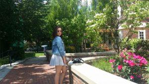 Senior, Maria Ordonez, posing in Europe.