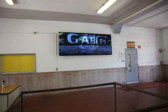 A set of TVs are added to the front of school inorder to provide guests with the latest updates!